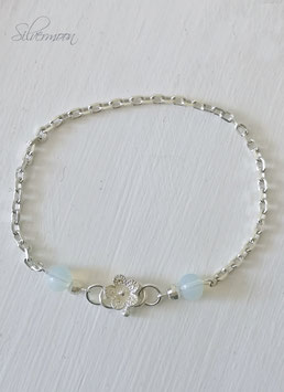 Armband 925 Silber, Blume, Opal