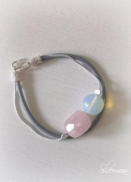 Armband Leder, 925 Silber, Opalith, Rosenquarz