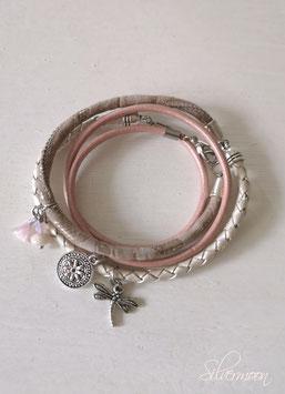 Wickelarmband Leder creme, rosa