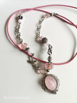 Kette Leder, Medaillon verspielt, rosa