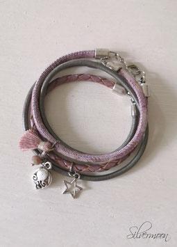Wickelarmband Leder lila