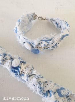 Armband Stoff, Spitze blau weiss