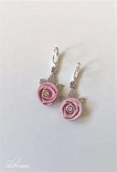 Ohrringe handmade, Rose Strasssteine