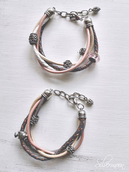 Armband Leder, mehrreihig, rosa, grau, beige