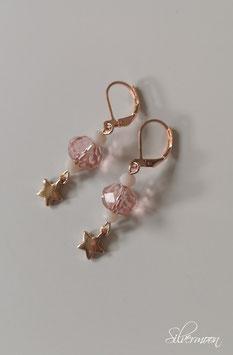 Ohrringe rosé, Sterne, rosa