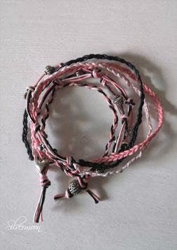Wickelarmband geknüpft, rosa, schwarz