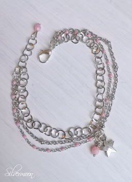Armband drei Ketten, Stern, rosa