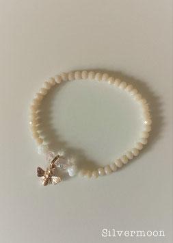 Armband Perlen nude, Biene rosé