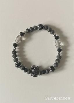 Glasperlenarmband Krone, schwarz