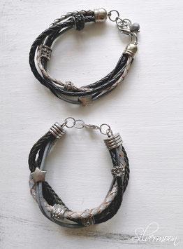 Armband Leder, mehrreihig, schwarz, grau