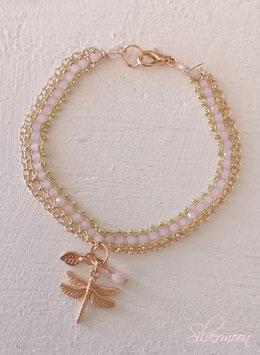 Armband rosé, Libelle, rosa Glasperlen