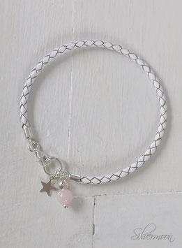 Armband Leder, 925 Silber, Rosenquarz, Stern