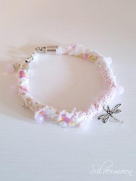 Armband textil, bestickt, Libelle