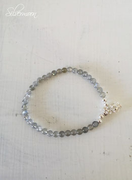Armband Labradorith, 925 Silber Krone