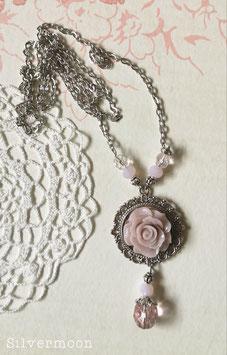 Kette rosa Rose silbern