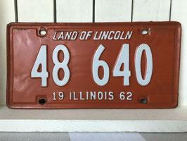 商品番号17198 ナンバープレートオレンジ(1962年 イリノイ州)