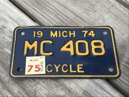 商品番号17173 ナンバープレート CYCLE(1974年 ミシガン州)