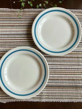 商品番号20162 陶器の丸皿(ブルーバンド)