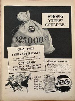 商品番号19064 雑誌「LIFE」1940年代広告 額入り(黒)ペプシコーラ