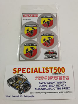 KIT 4 ADESIVI SCORPIONE ABARTH ITALIA FONDO ARGENTO DIAMETRO 48mm