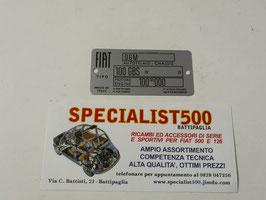 TARGHETTA DATI FIAT 850 SPIDER