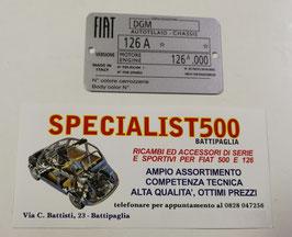 TARGHETTA DATI FIAT 126 - 595