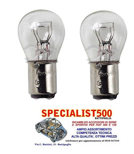COPPIA LAMPADINE LUCE STOP FANALINI POSTERIORI DOPPIA RESISTENZA P21/5  FIAT 500 TUTTE