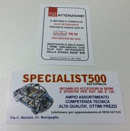 CARTONCINO DI INDICAZIONE OLIO MOTORE ED INDICAZIONI DI RODAGGIO PER 500 T.T.