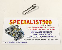 CLIPS METALLICA PER FISSAGGIO MOLLE IN METALLO CENTRALI TELAIO SEDILE ANTERIORE FIAT 500 F L R GIARD