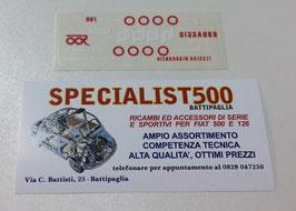 ADESIVO INDICAZIONI DI RODAGGIO APPLICATO AL PARABREZZA PER 500 T.T.