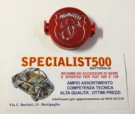 FIAT 500 F L R - 126- TAPPO SPINTEROGENO ALLUMINIO ANODIZZATO ROSSO SCRITTA ABARTH