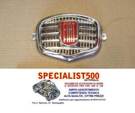 FREGIO ANTERIORE CENTRALE IN PLASTICA CROMATA FIAT 500 N D