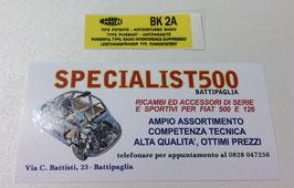 ADESIVO SUL REGOLATORE DI TENSIONE PER 500 T.T.