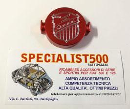 FIAT 500 F L R - 126- TAPPO SPINTEROGENO ALLUMINIO ANODIZZATO ROSSO SCRITTA GIANNINI
