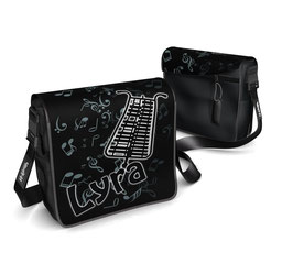 Deckel S - Lyra schwarz/weiss mit Notenhintergrund