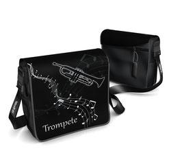 Deckel S - Trompete schwarz/weiss mit Notenhintergrund und Notenlinien