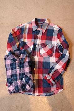 BLUE BLUE/ブルーブルー インディアンインディゴチェック ワークシャツ 700074646