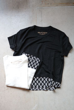 Robes & Confections/ローブスアンドコンフェクション  Belgium Linen Jersey₊Rayon Crepe de Chine Handing Print T-shirt  RCW-T06-310