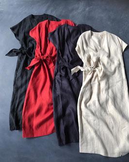 Robes&Confections/ フレンチリネンカシュクールドレス