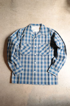 FULL COUNT/フルカウント NDIGO PALAKA CHECK OPEN COLLAR SHIRT 4034