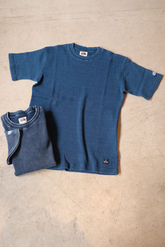BLUE BLUE × FRUIT OF THE ROOM インディゴワッフルTシャツ 700069500