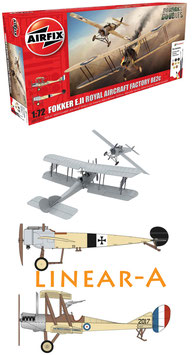 AIRFIX A50177  WWI Fokker EII/RAF BE2C Dog Fight Doubles Gift Set 1:72