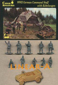 CAESAR H095 WWII GERMAN COMMAND STAFF WITH KÜBELWAGEN