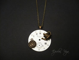 Collier sautoir cadran vintage Tea Time