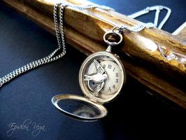 Sautoir pendentif montre en argent massif