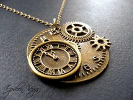 Sautoir steampunk horloge bronze