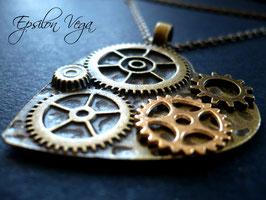 Sautoir Cœur mécanique 3 bronze et or