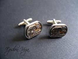 Paire de boutons de manchette luxe ovales 1