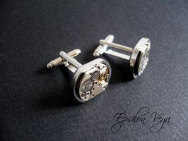 Paire de boutons de manchette luxe ovales 2