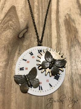 Collier sautoir cadran vintage Papillons